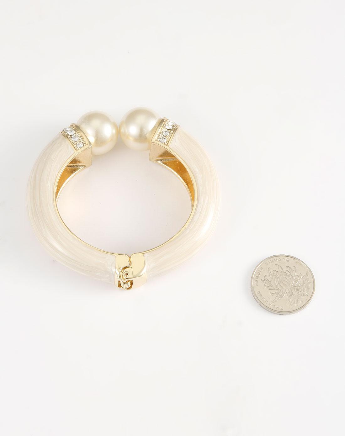 白/金色珍珠时尚手镯