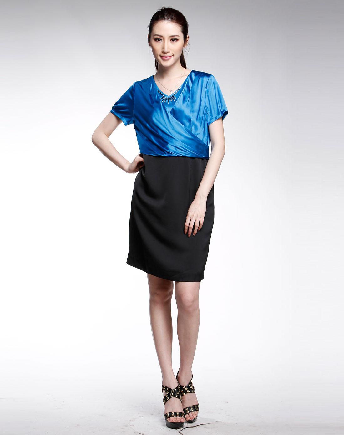 蓝色时尚拼接短袖连衣裙