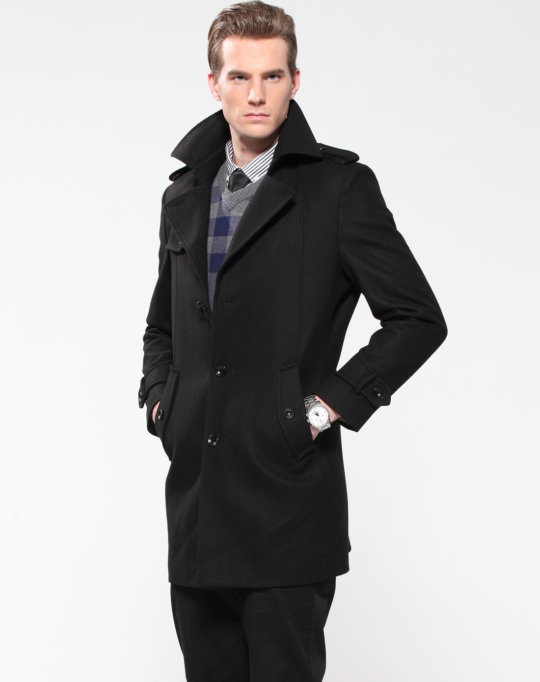 经典黑色商务大衣