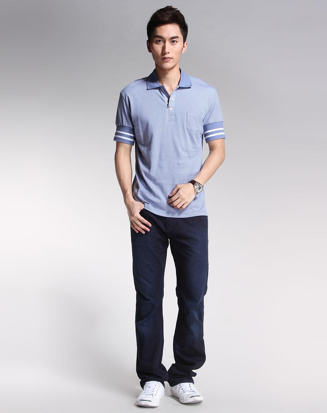 卡宾cabbeen-男装-蓝色条纹休闲短袖t恤