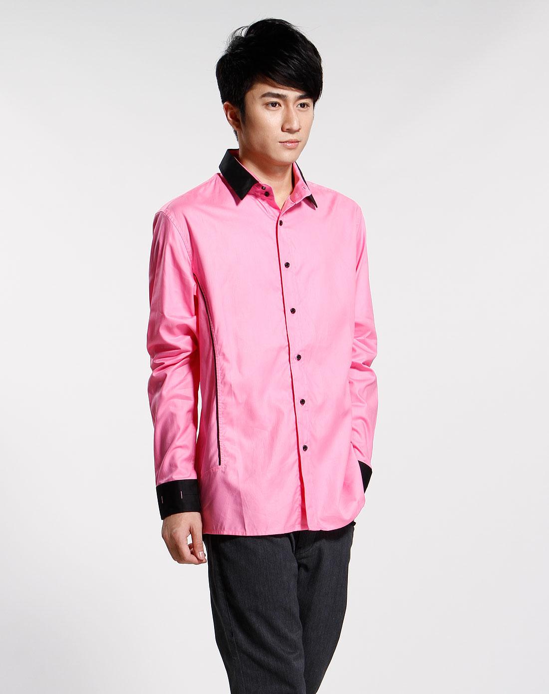 粉红色休闲长袖衬衫