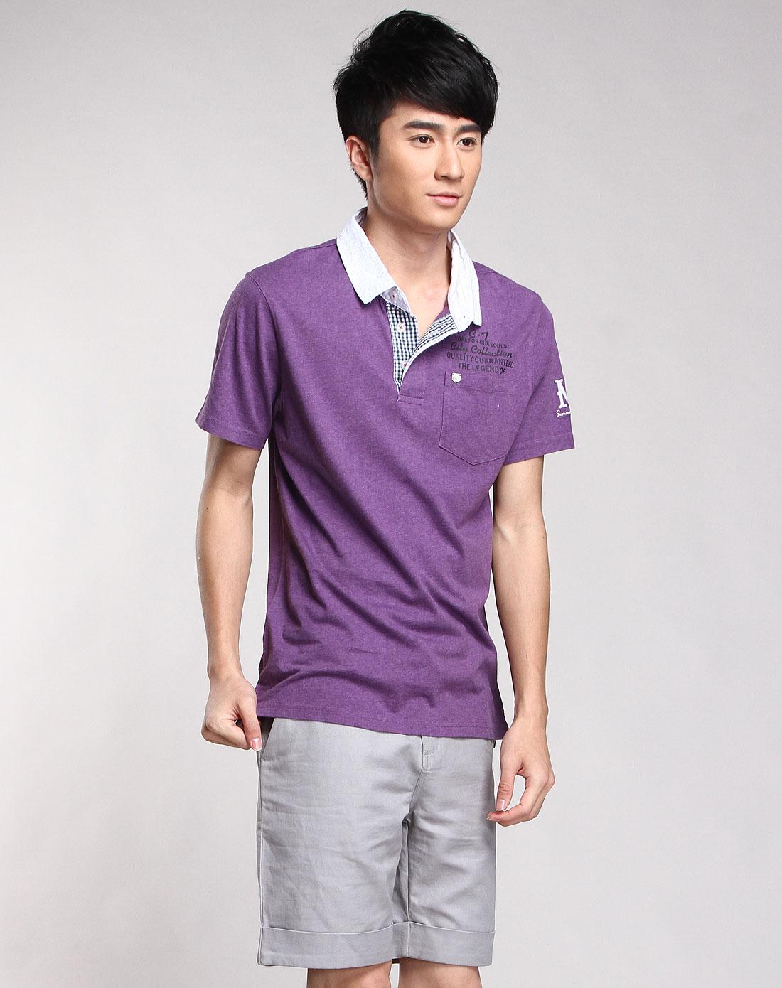 和卹f�x�_紫色时尚针织短袖翻领恤