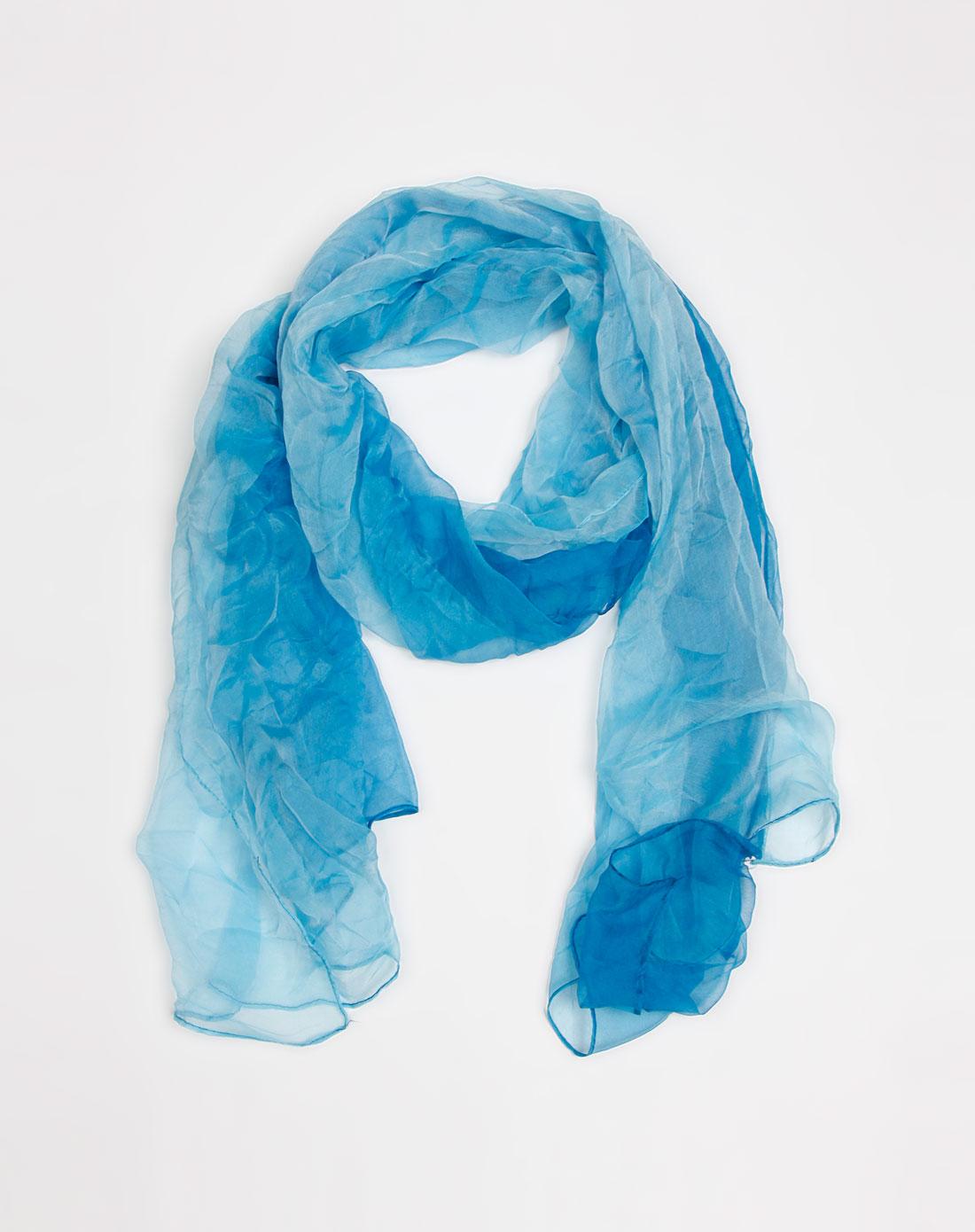 蓝色渐变桑蚕丝丝巾
