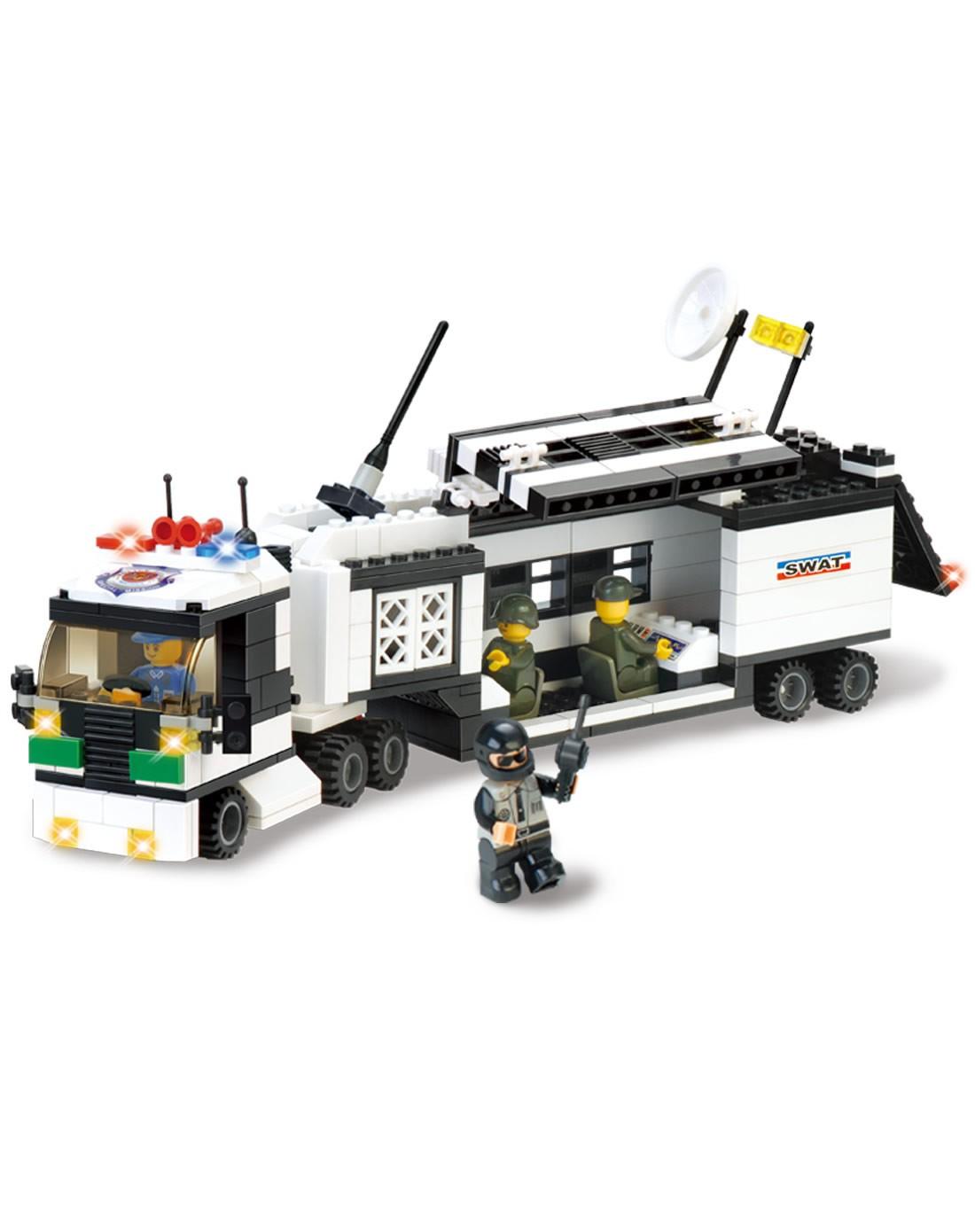 婴侍卫 特警装备车益智积木玩具