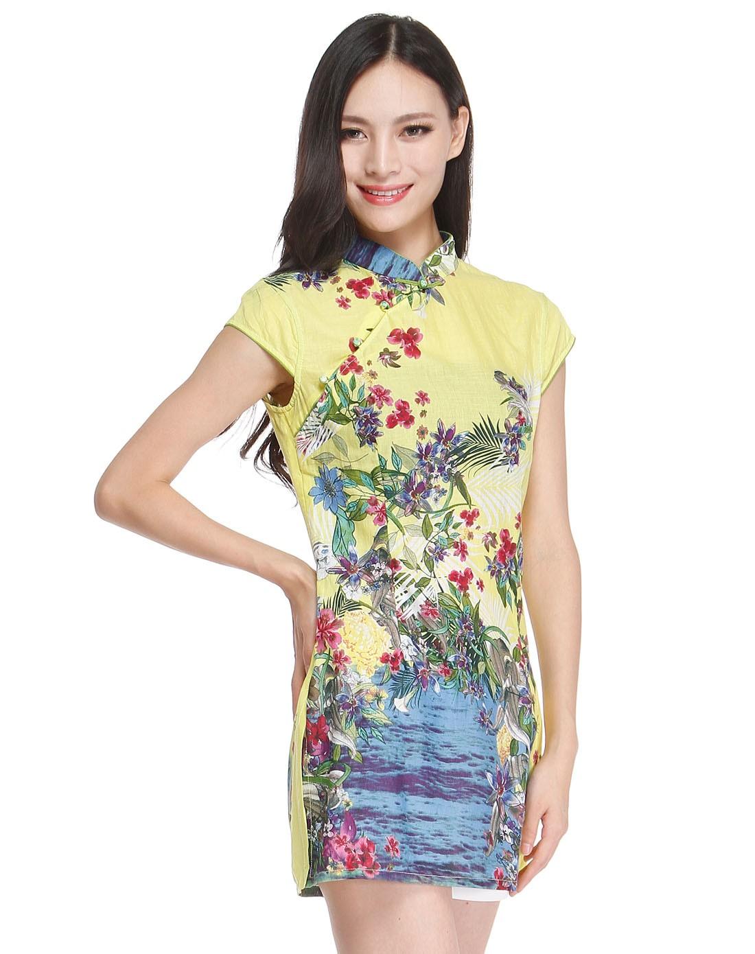 黄/绿色修身花纹盖肩袖旗袍