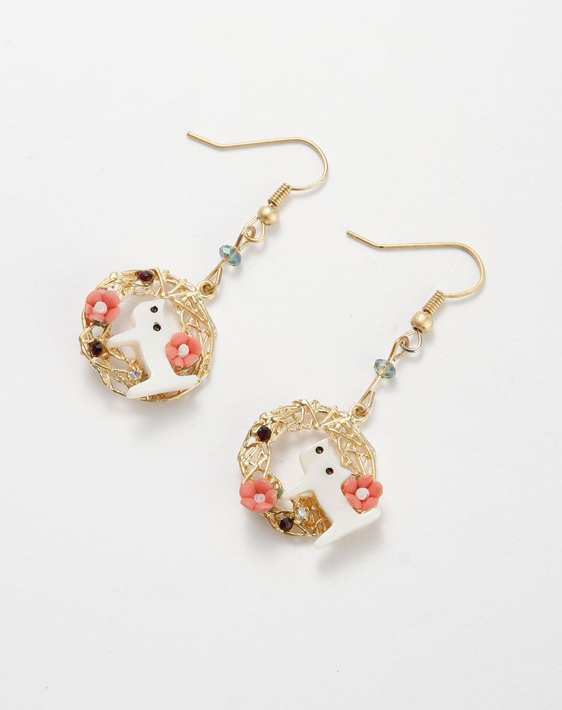 金/彩色可爱小猫耳环