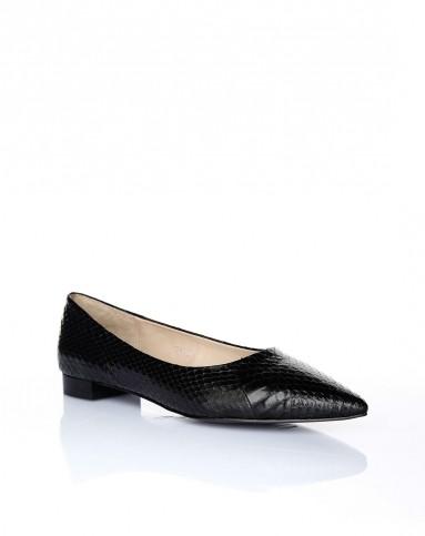 烫feverish女鞋专场 > 黑蛇皮平底鞋