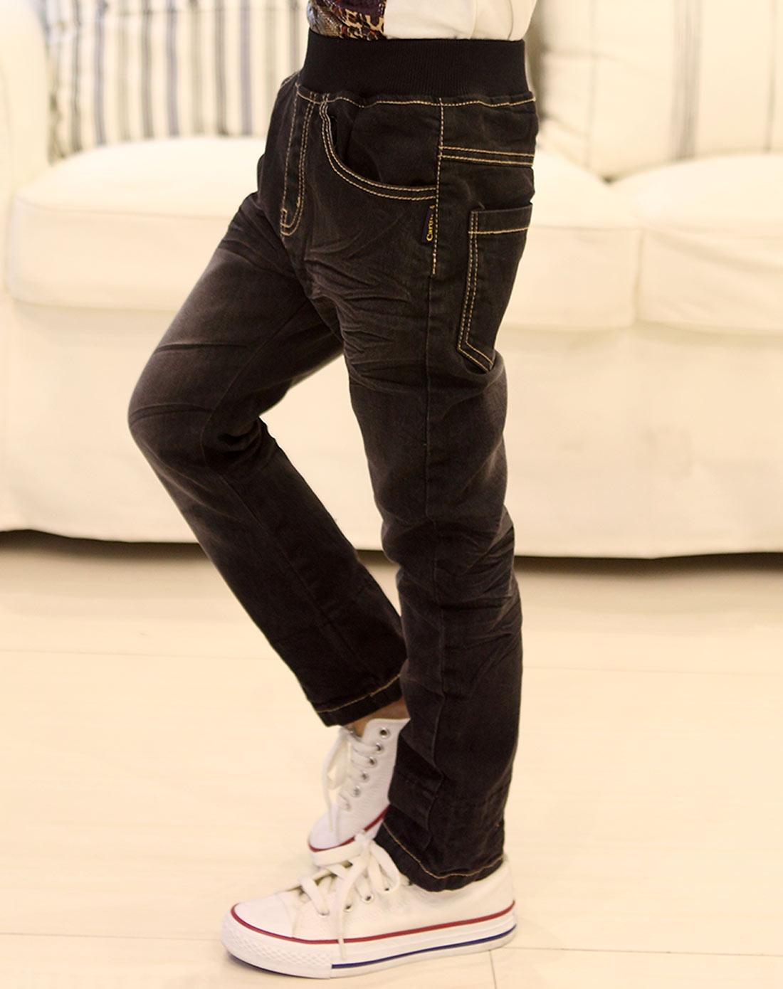 男童黑色牛仔裤