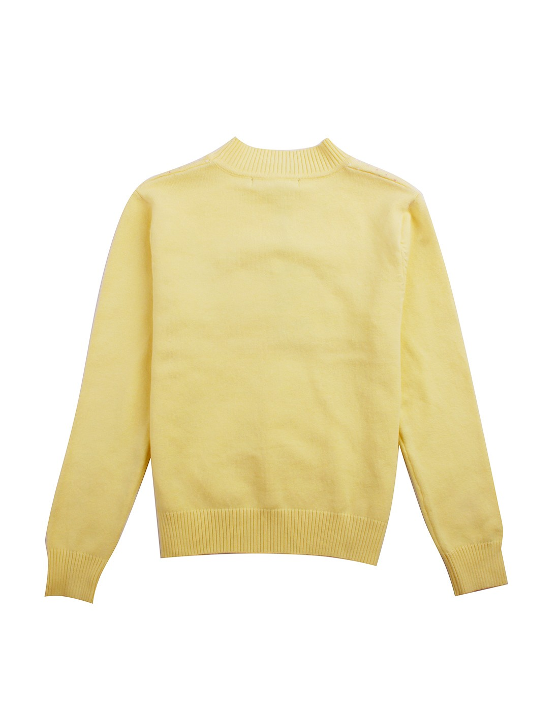 女童淡黄色条纹圆领针织衫