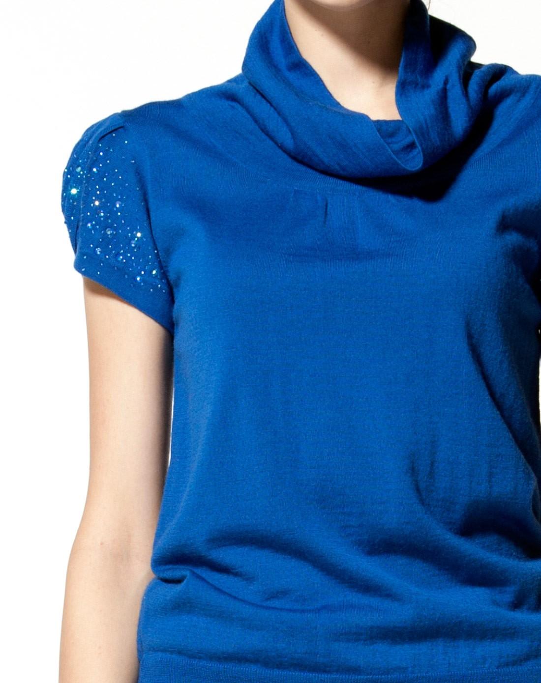 女款艳兰羊毛盆领短袖针织衫