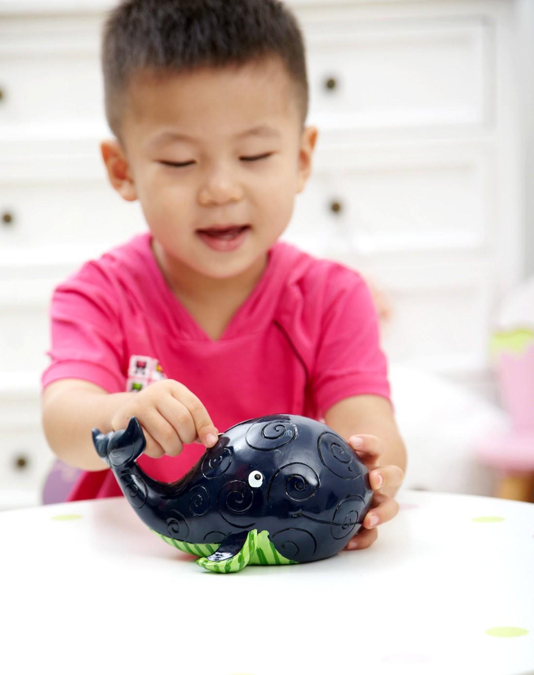 环保手绘树脂儿童储蓄罐-蓝色鲸鱼