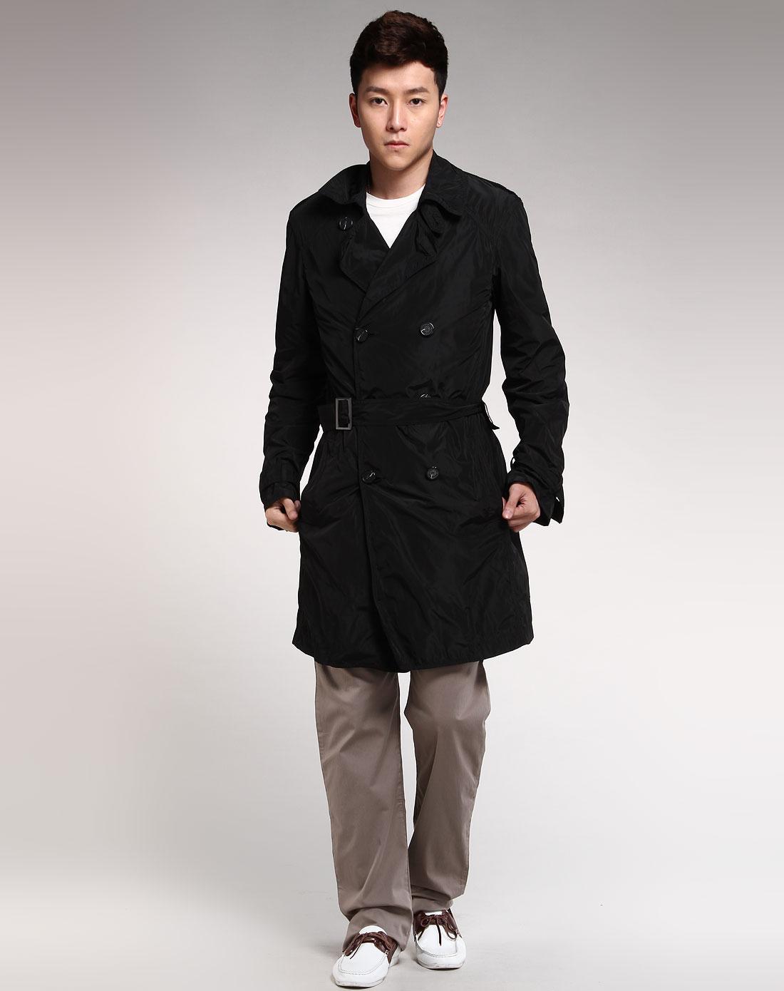 男款黑色长款休闲风衣