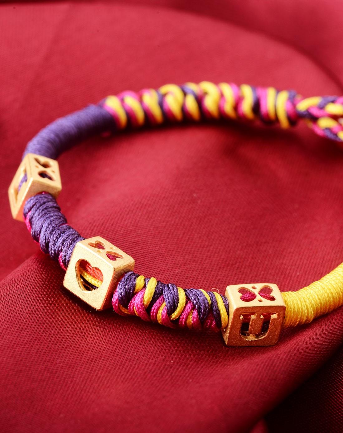 千足金黄金转运珠字母我爱你彩绳手链(三粒合计3.05克)