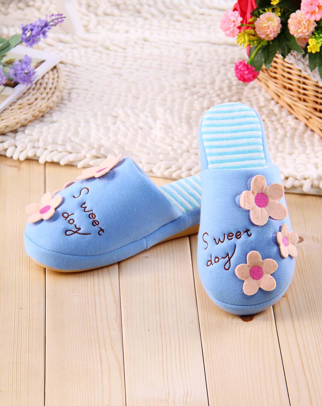 戴君儿 女士天蓝色花朵小清新居家棉拖鞋