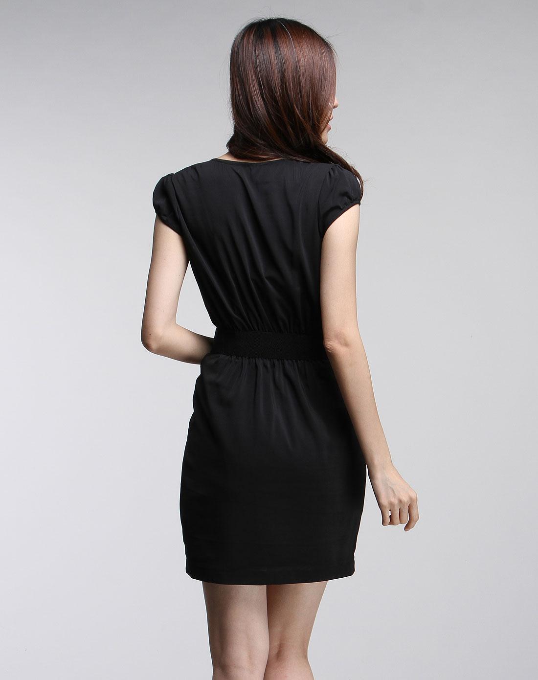 傲丝度isayido女装专场-女款黑色优雅珠片短袖连衣裙