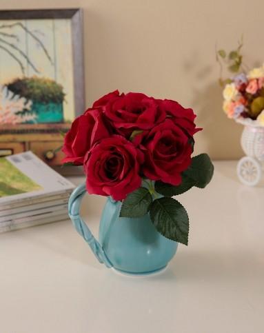 欧式唯美布艺仿真花束-玫瑰手捧花红色
