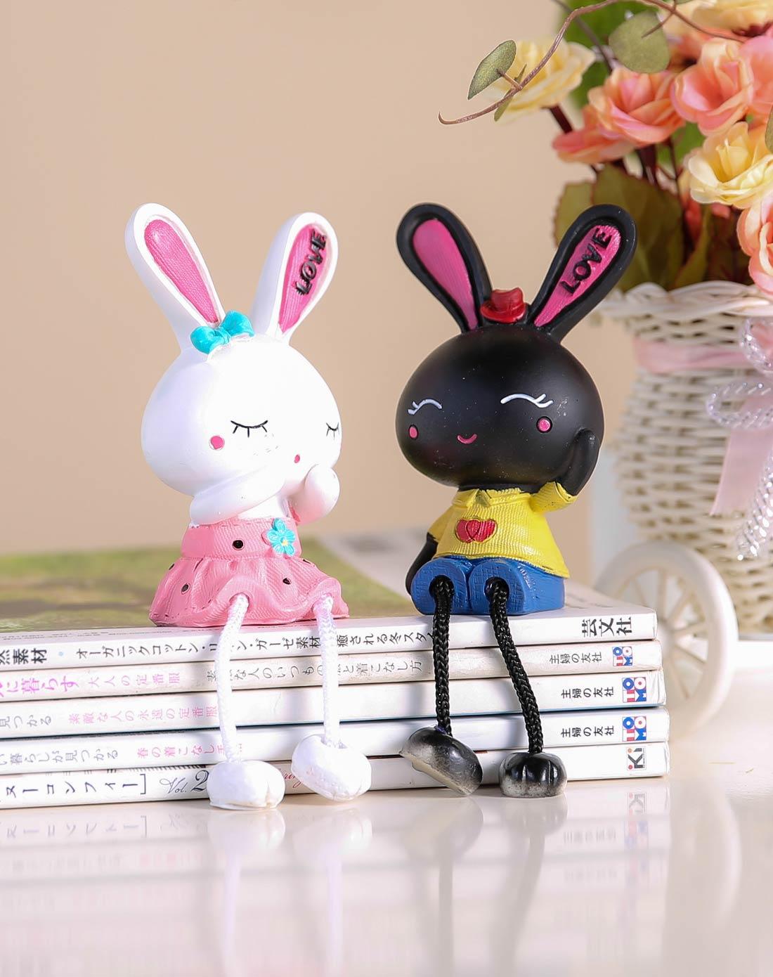 卡通树脂工艺摆件吊脚娃娃-黑白love兔一对