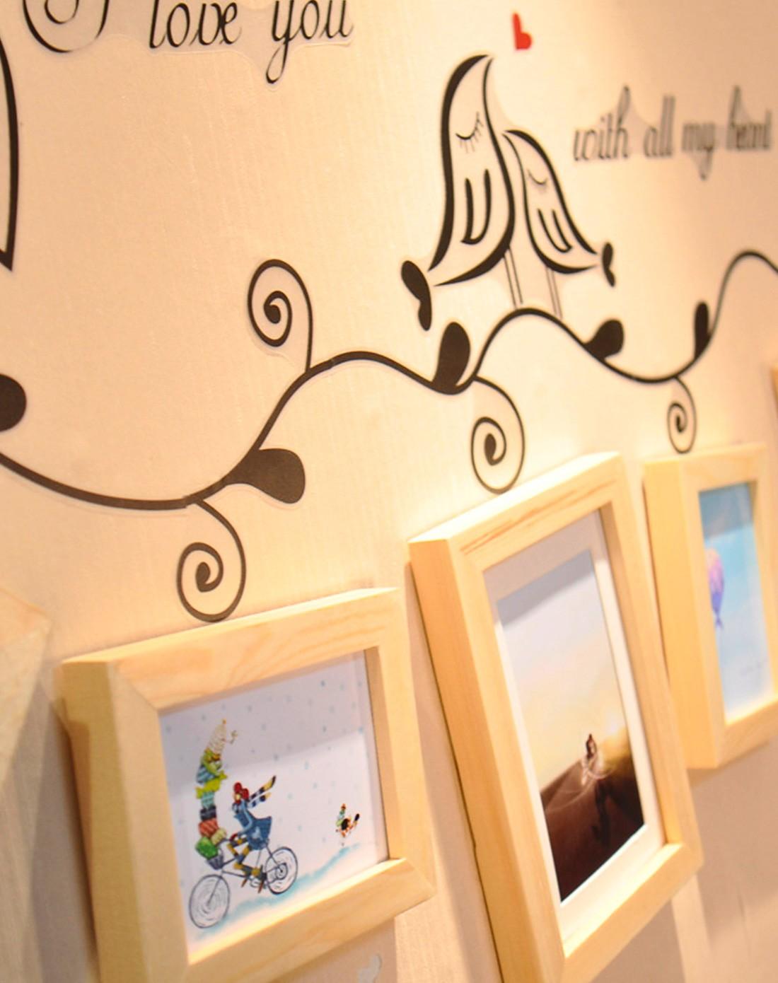 创意实木照片墙唯美爱情鸟墙贴