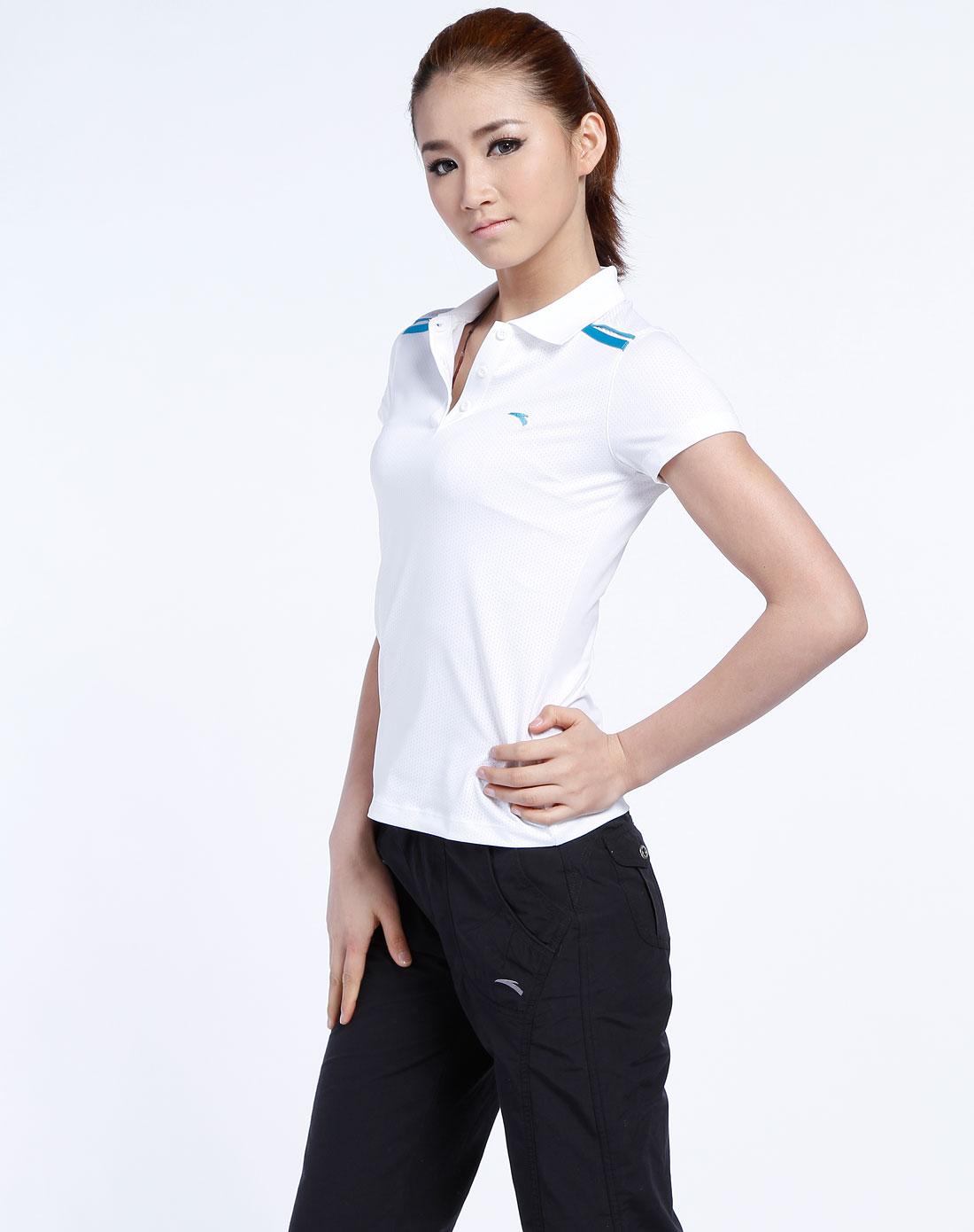 一女多男抽�_安踏anta男女装混合专场-女款 白色反领短袖t恤3