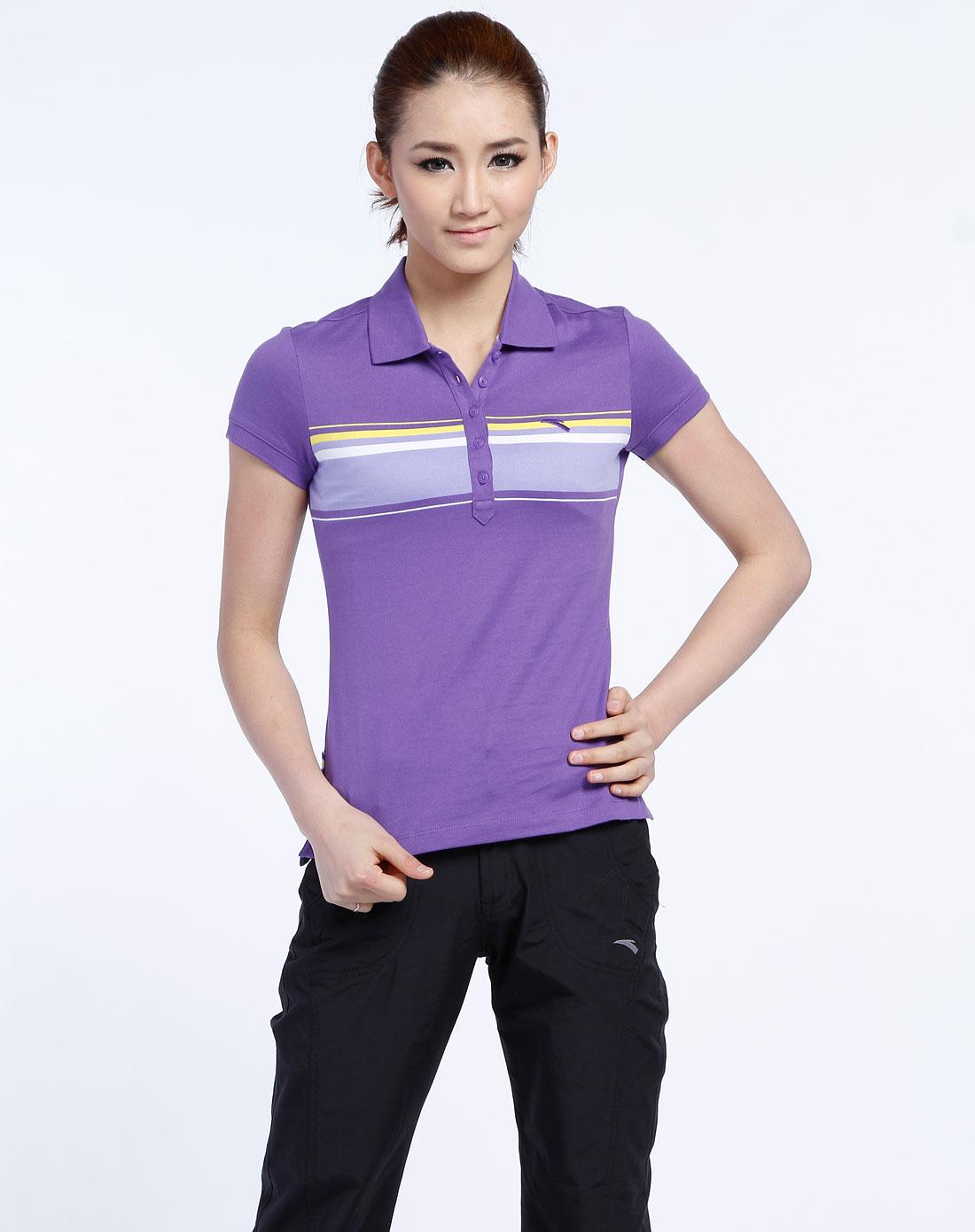 安踏anta女装专场-女款紫色横条纹反领短袖t恤