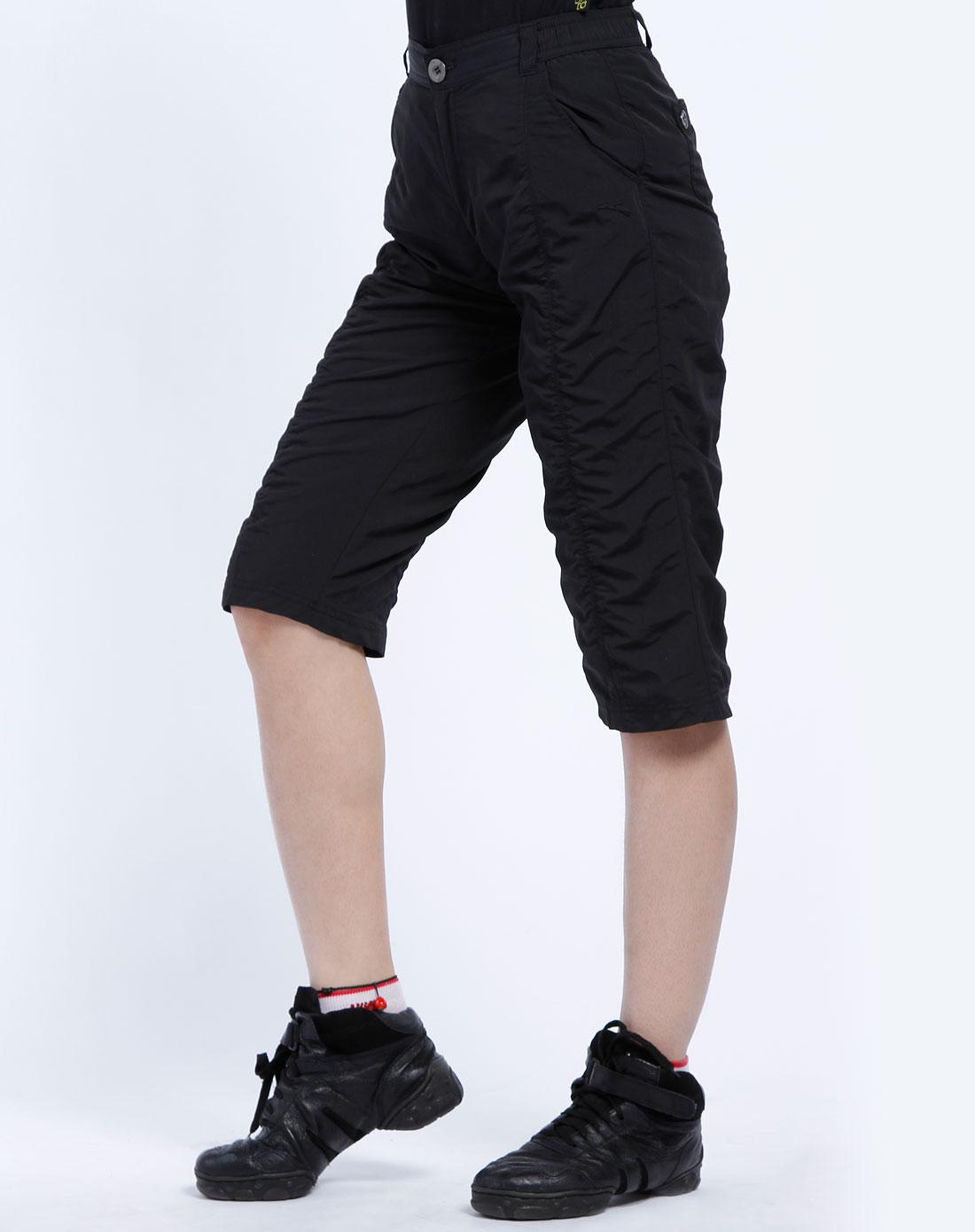 安踏anta女装专场-女款黑色休闲七分裤