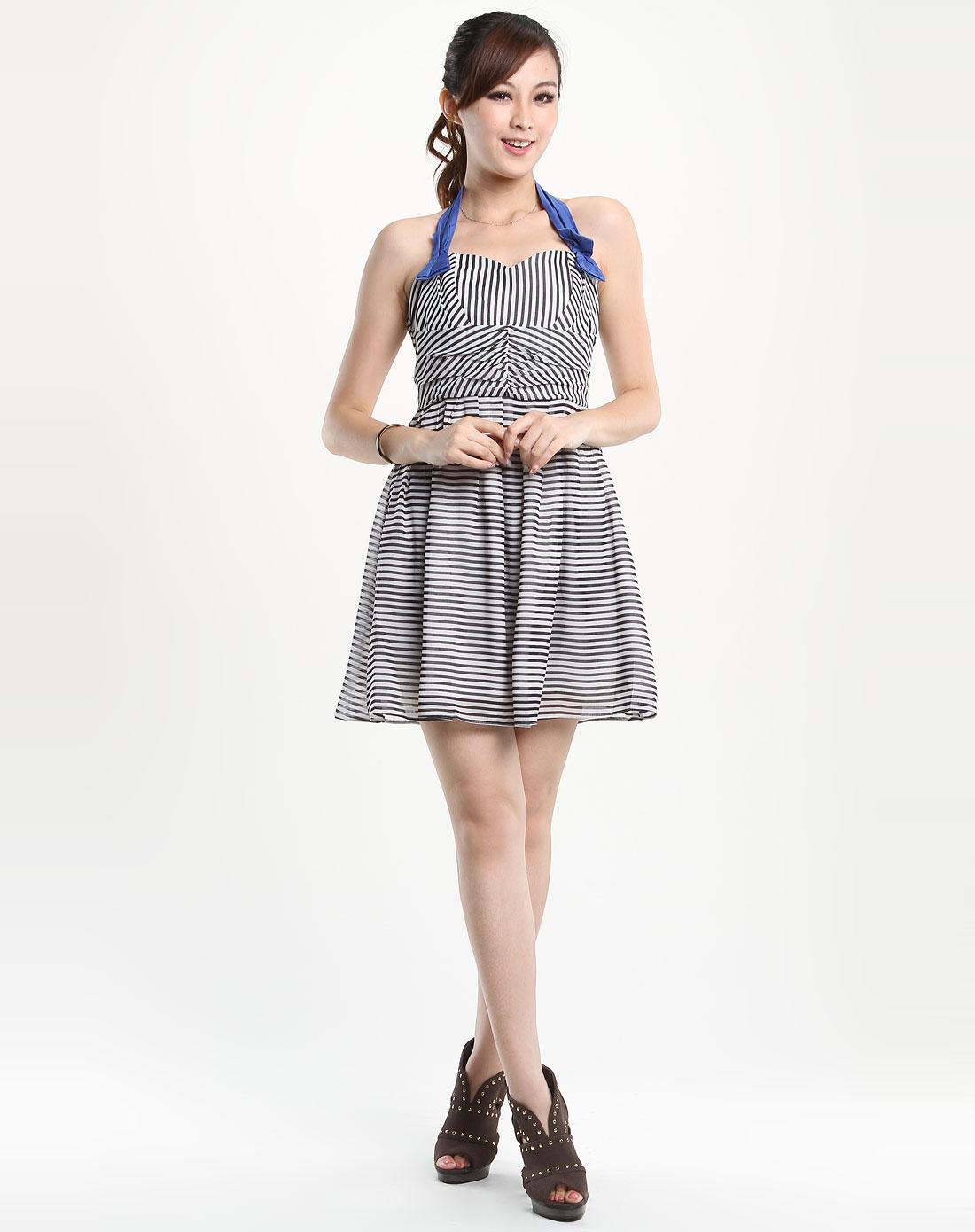 黑白条纹吊带性感露背连衣裙