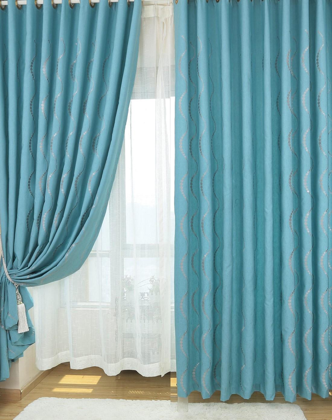赛菲尔纯麻窗帘蓝双片挂钩300*260cm