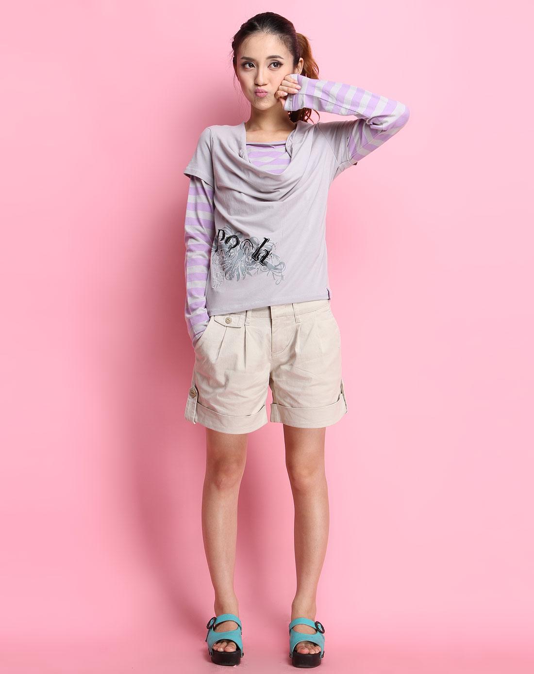 小熊维尼winnie the pooh灰/紫色横间假两件长袖针织