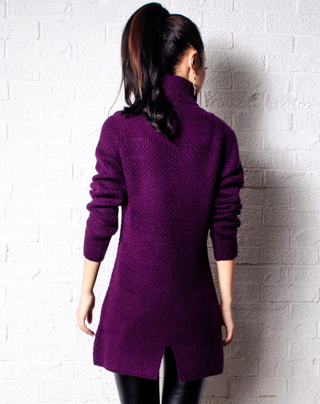 紫色蜂窝纹路弧形下摆长款毛衣