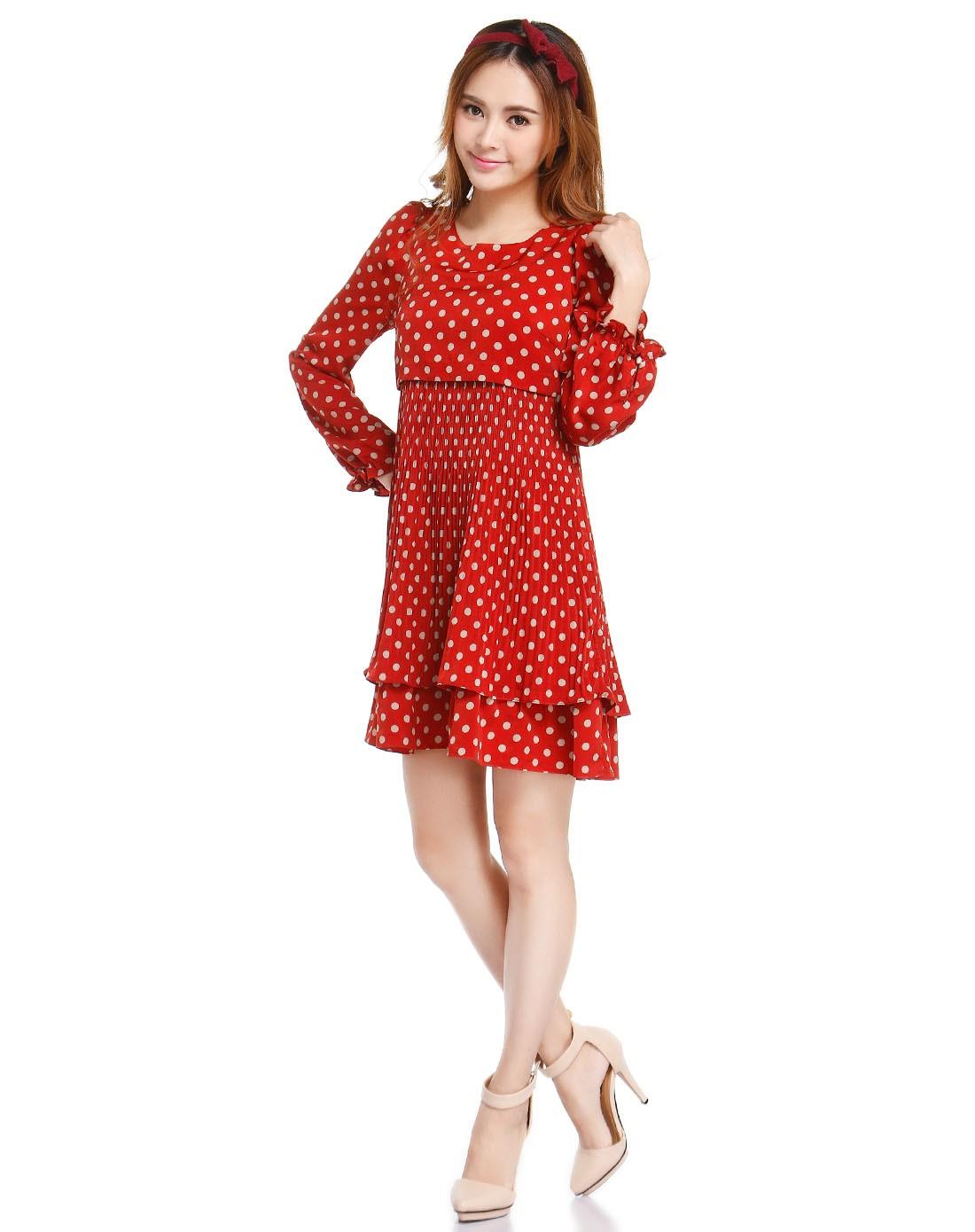 深橘红色可爱圆点长袖连衣裙