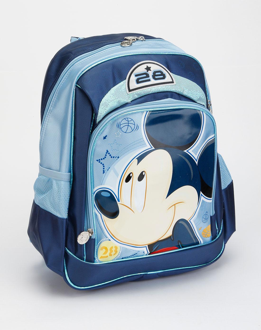 男童深蓝男童蓝色米老鼠印图双肩包图片
