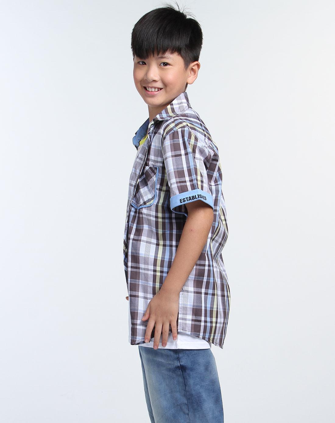男童灰/白色短袖衬衫
