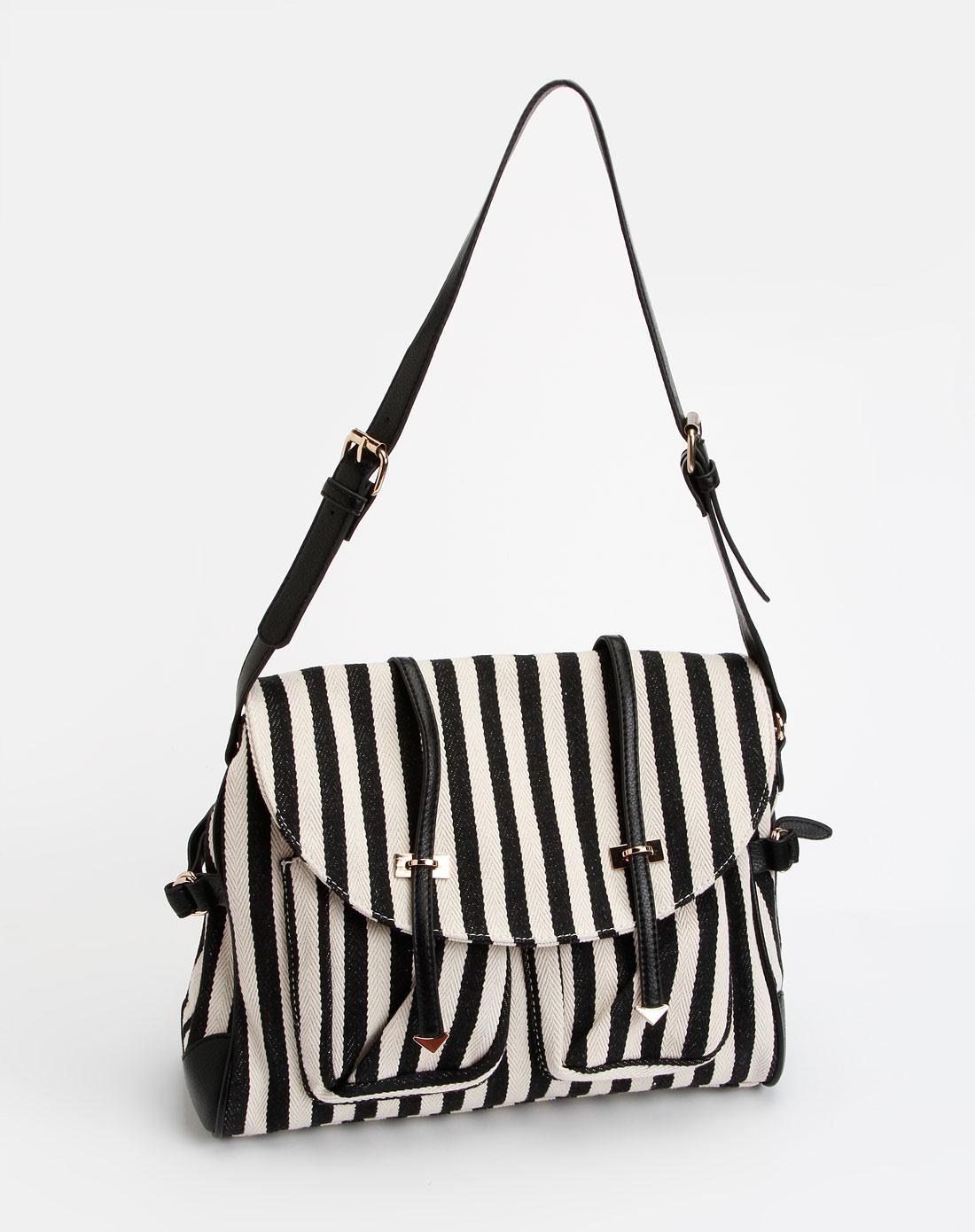黑色沙滩条纹系列时尚手提包