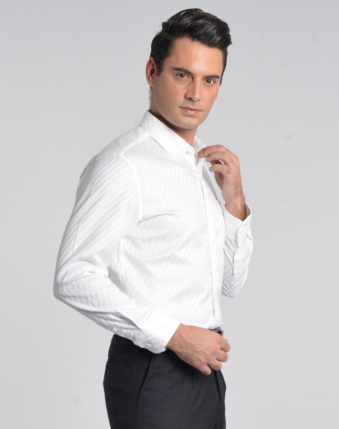 乔治白giuseppe白色简约绅士长袖衬衫qs3uj02391