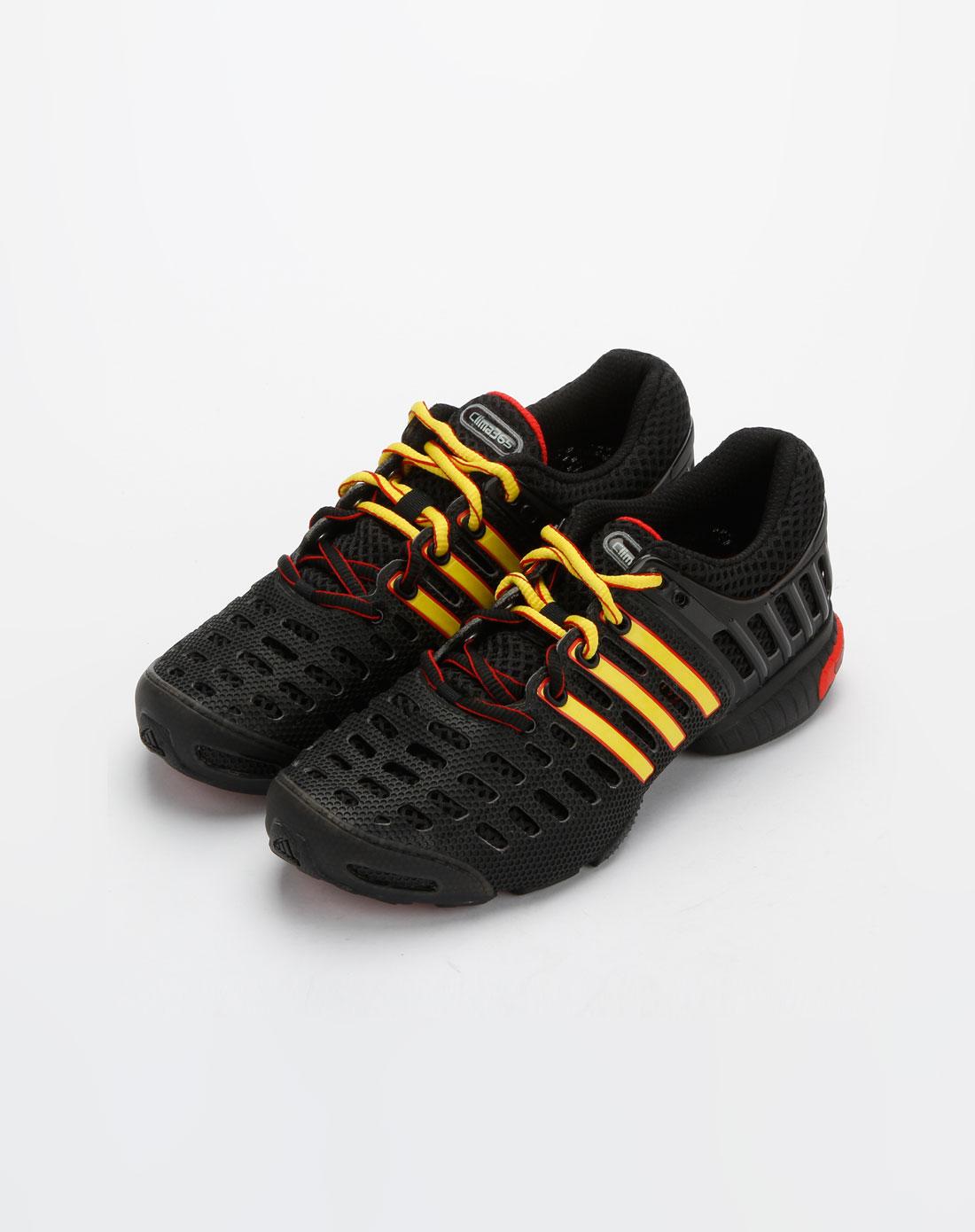 阿迪达斯adidas男装专场-中性黑/黄/红色镂空系带运动鞋图片