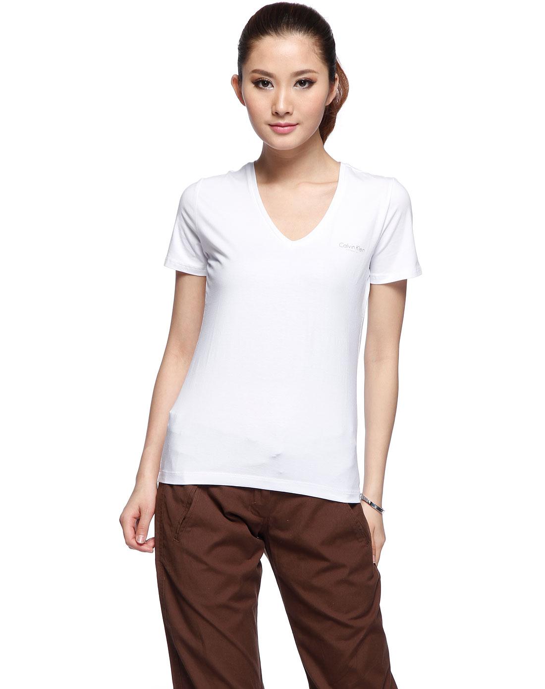 卡尔文克莱恩calvin klein 女款漂白色v领短袖t恤