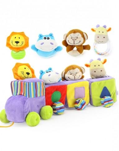 小动物火车乐园布制玩具