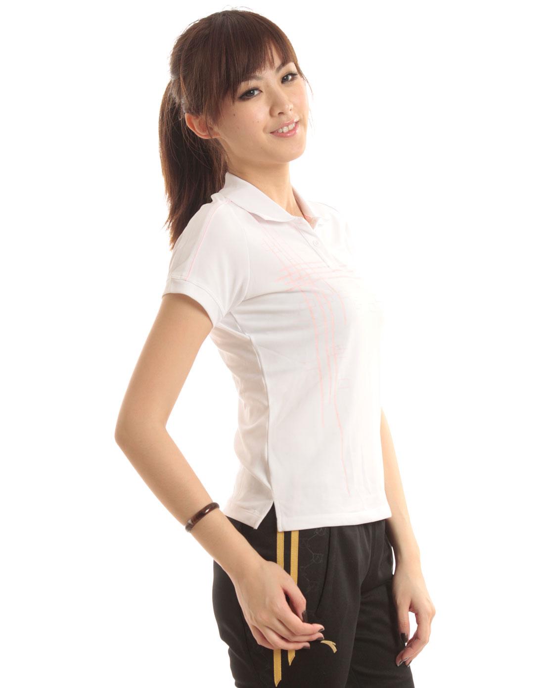 安踏anta男女装混合专场-女款 白/粉色方格短袖polo衫
