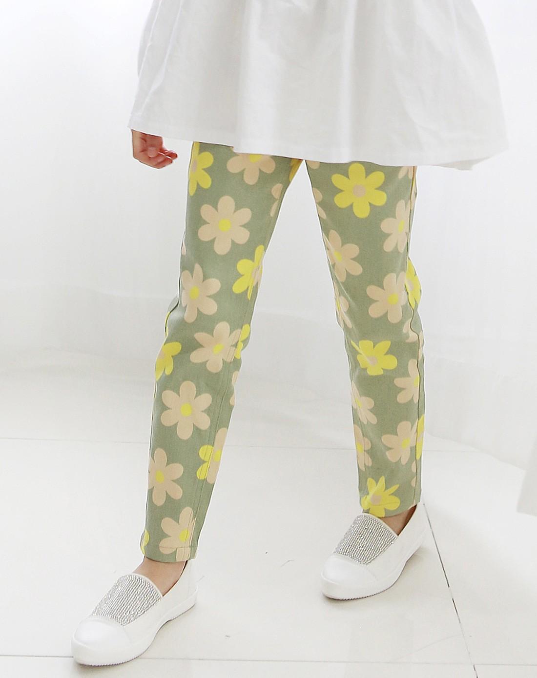 韩都衣舍minizaru男女童女童绿色中腰小脚裤xf