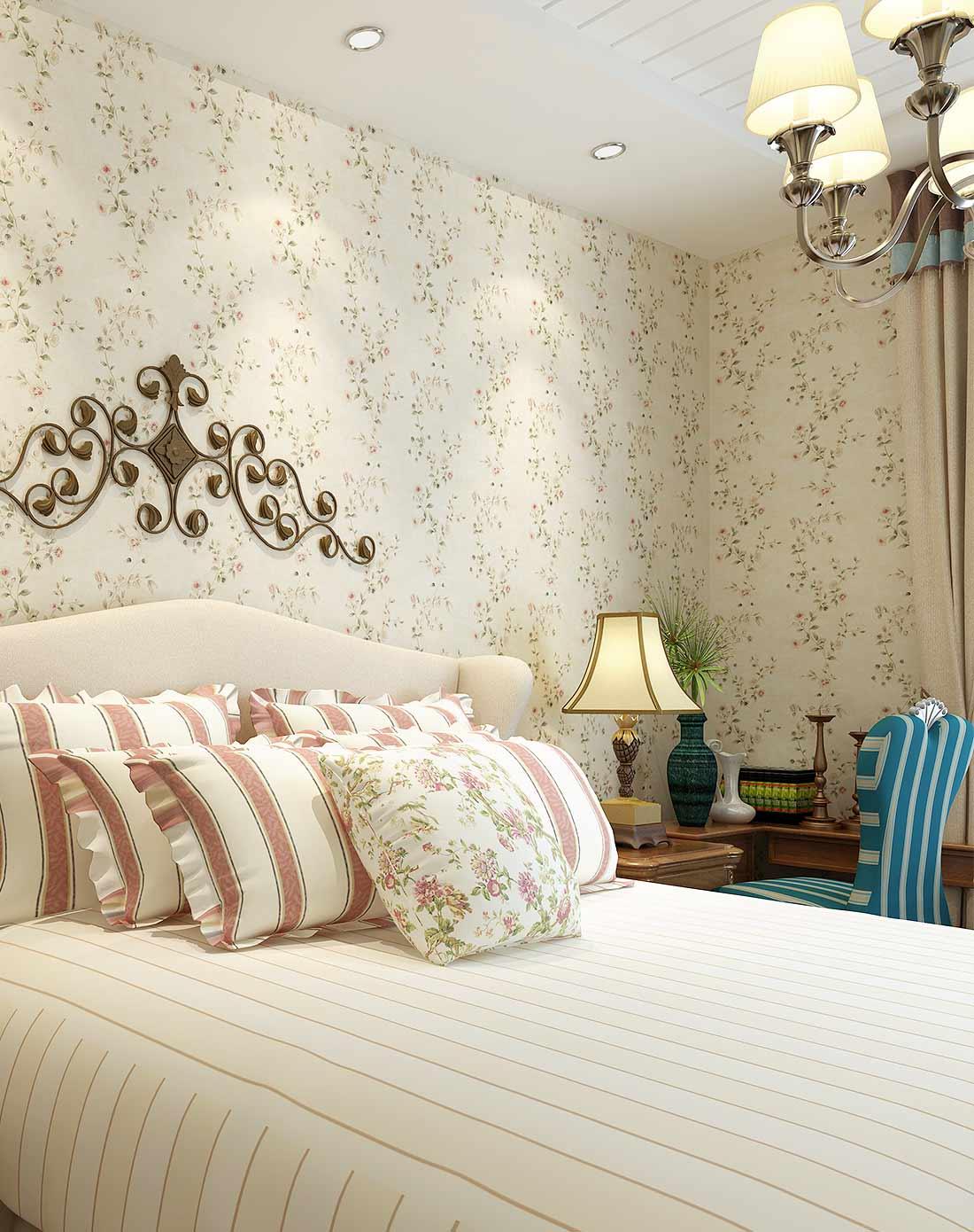 旗航美式壁纸 田园小碎花纯纸墙纸 卧室壁纸