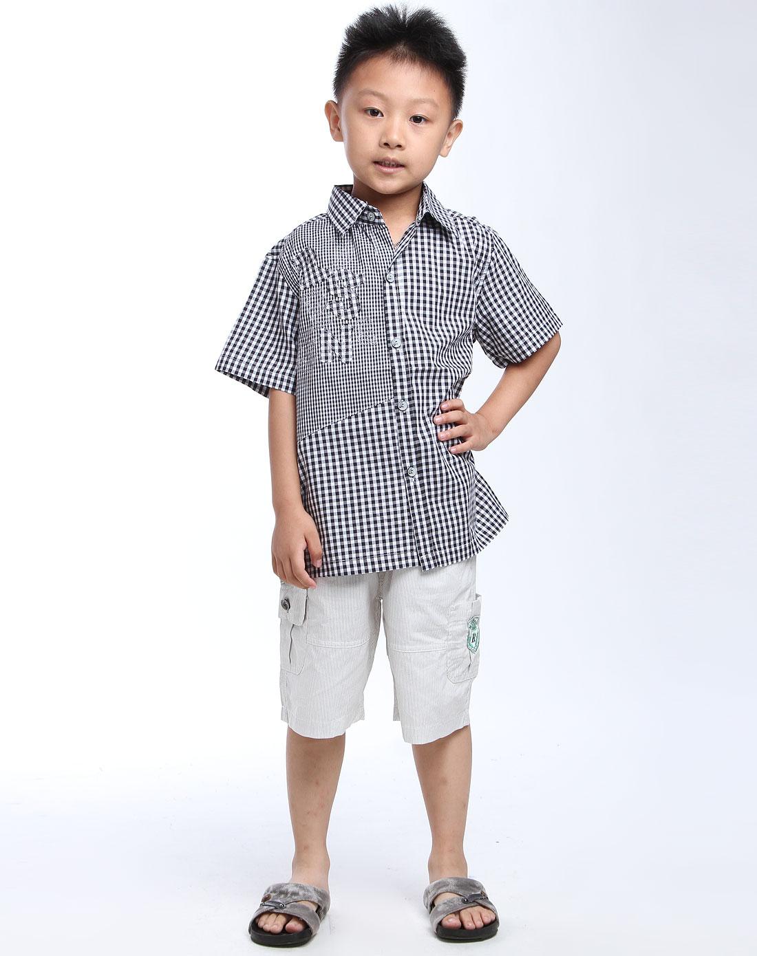 男童黑色/白色短袖衬衫