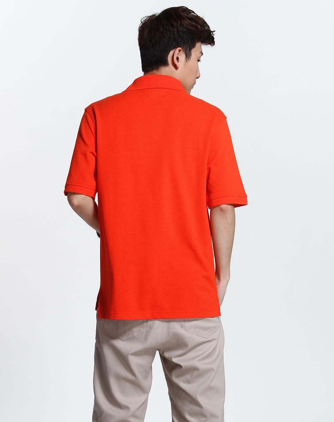 橘红色时尚简约短袖polo衫