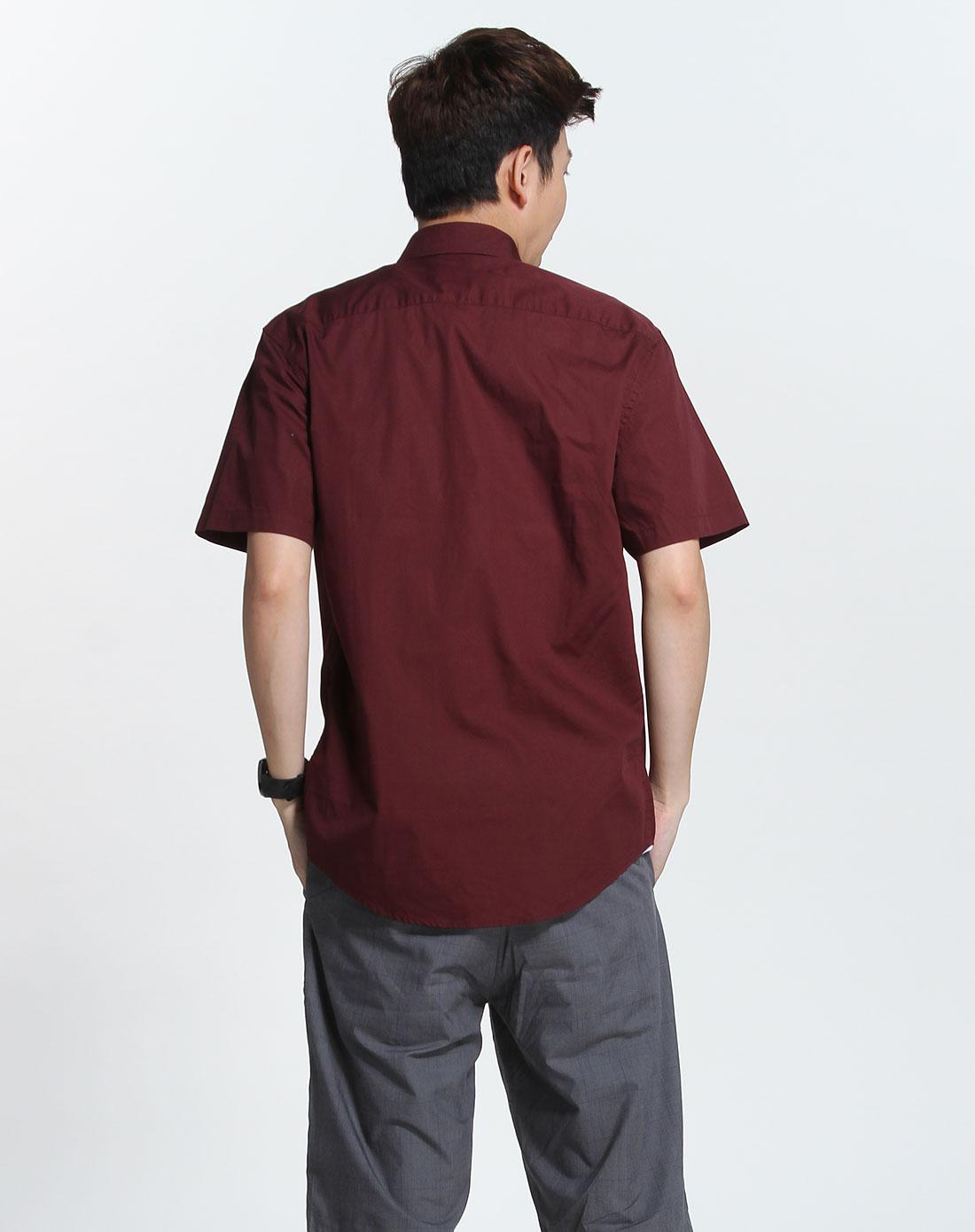 斯波帝卡sportica枣红色休闲短袖衬衫172622