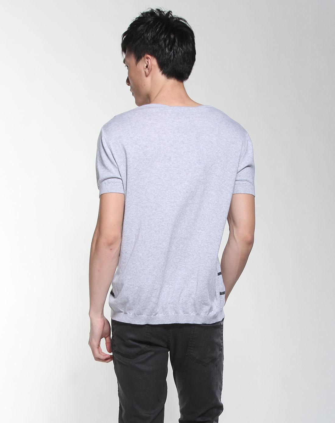 灰色手绘骷髅短袖针织衫