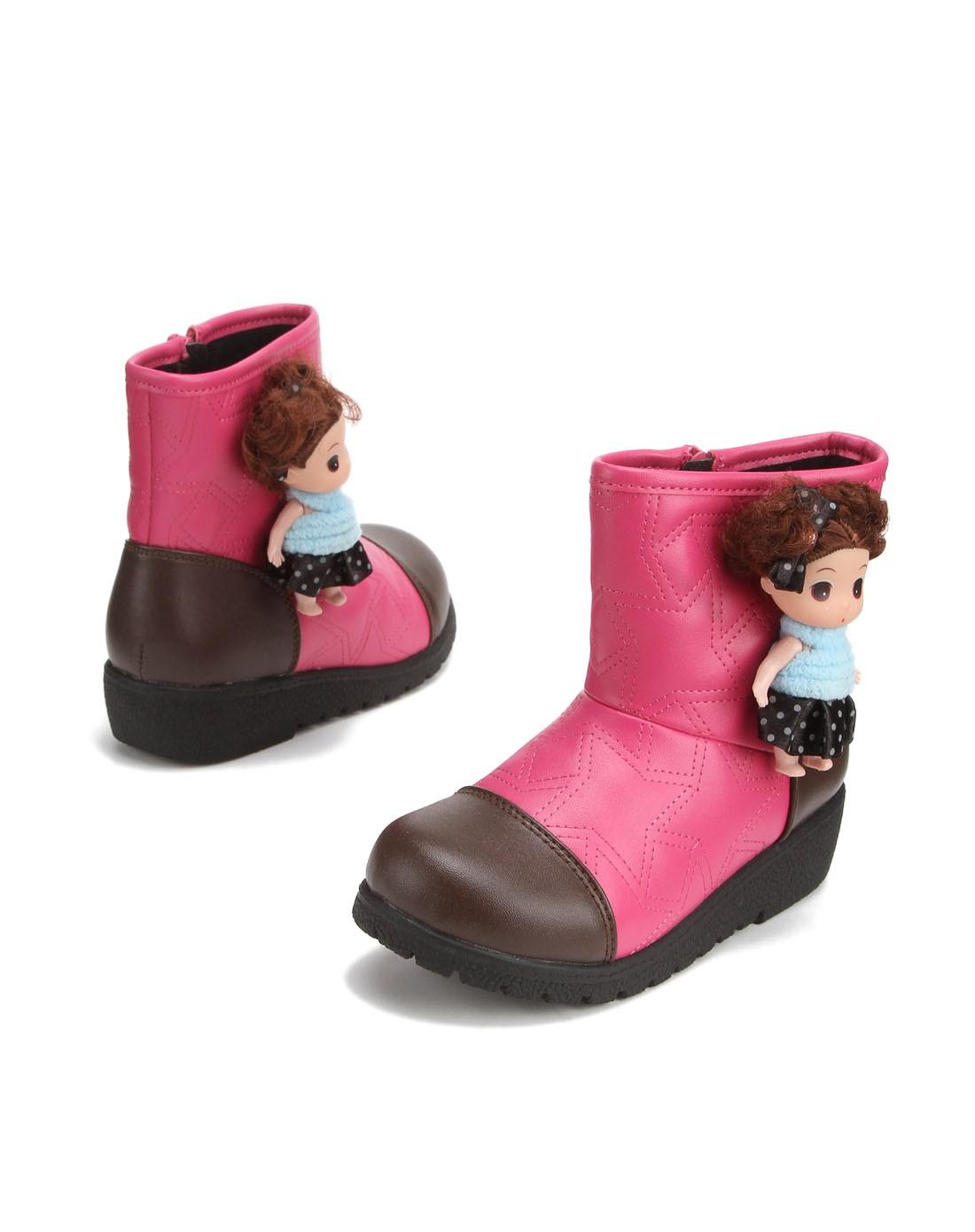 女童桃红色立体卡通装饰可爱休闲靴子