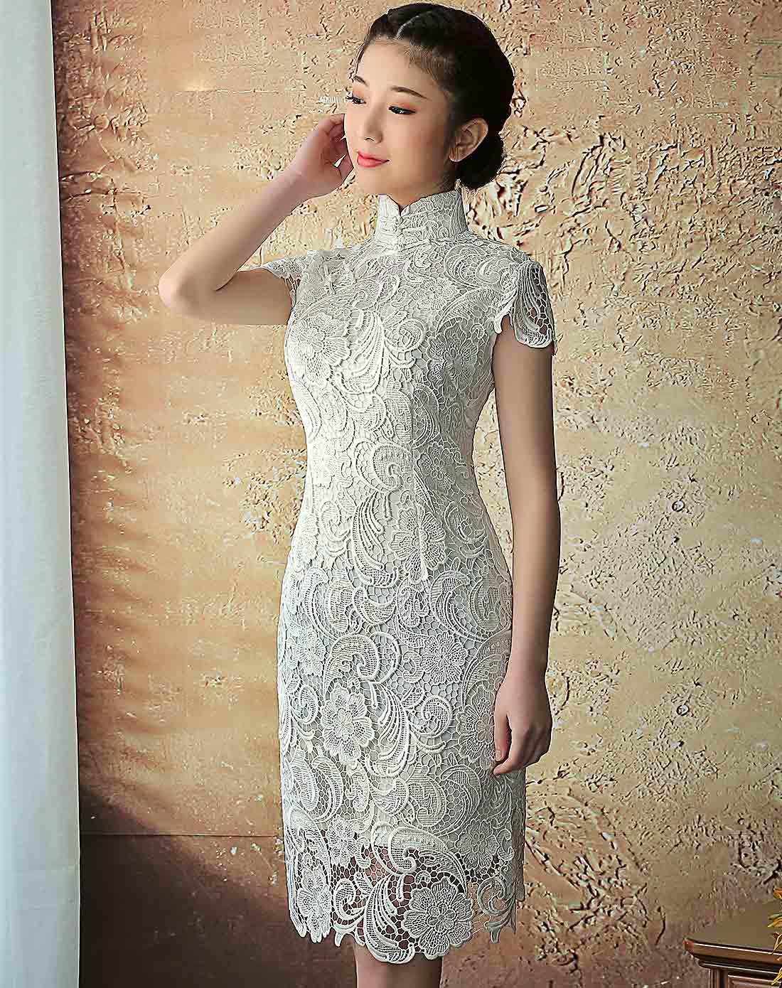 清影水溶蕾丝旗袍裙