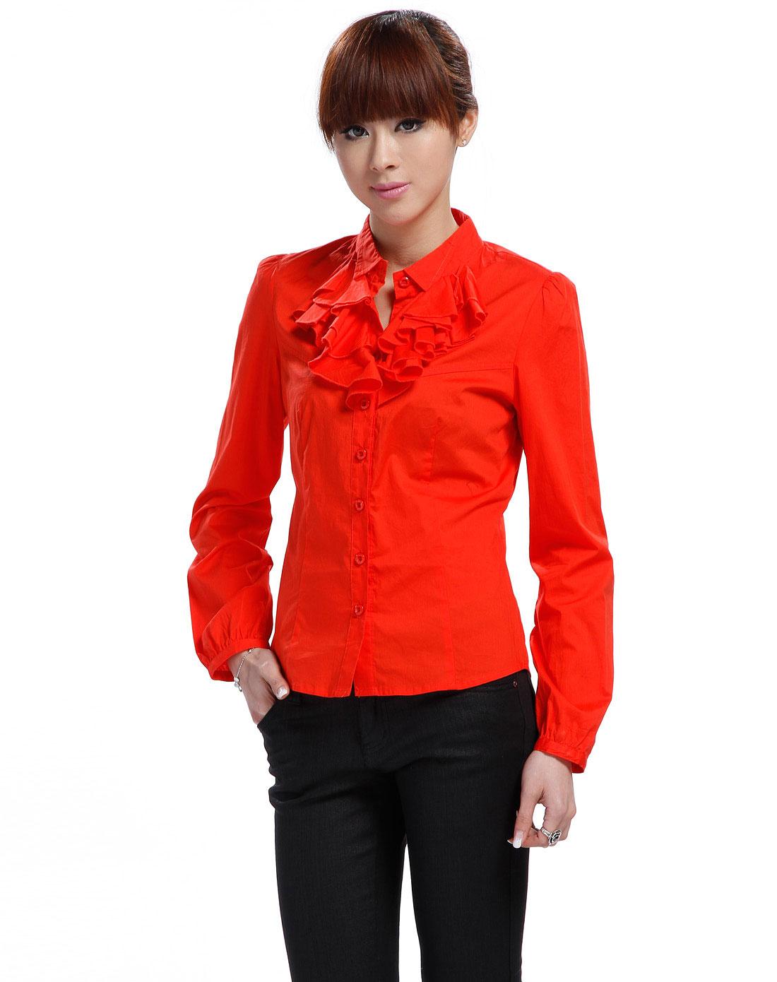 品牌-9----夜场威丝曼红色花边领长袖衬衫ta230004