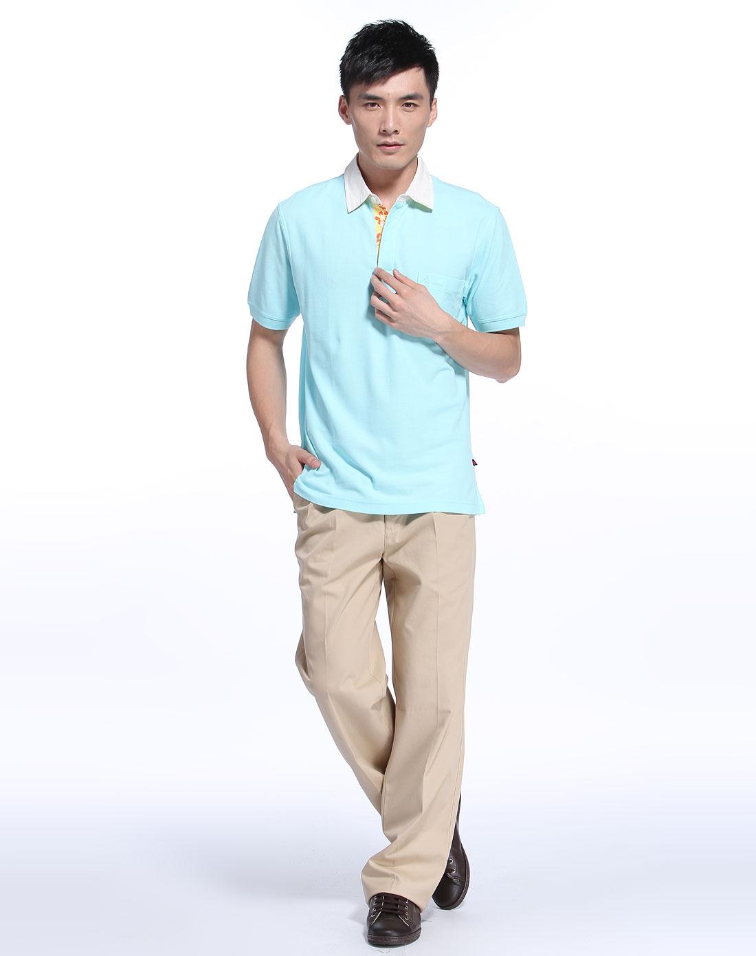 圣大保罗男装专场 > 男款浅蓝色翻领时尚短袖t恤