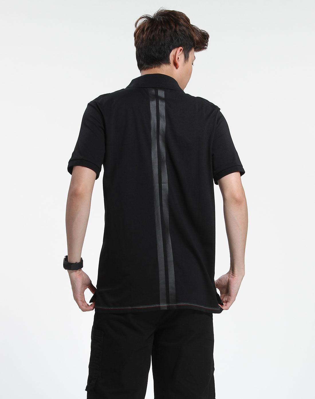 黑色时尚短袖翻领t恤