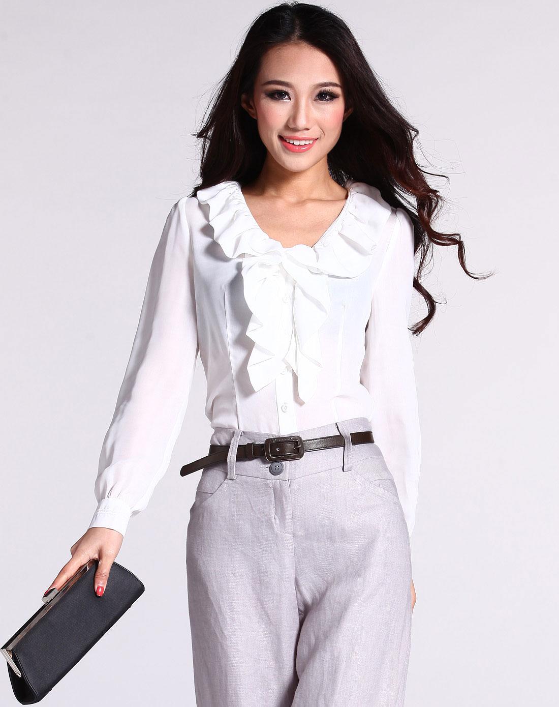女款白色荷叶领衬衣